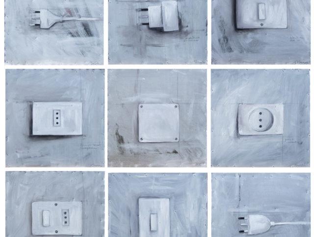Elettrici, olio su lamiera, 90x90 cm. (30x30 cadauno) cm. 2006 - Proprietà privata