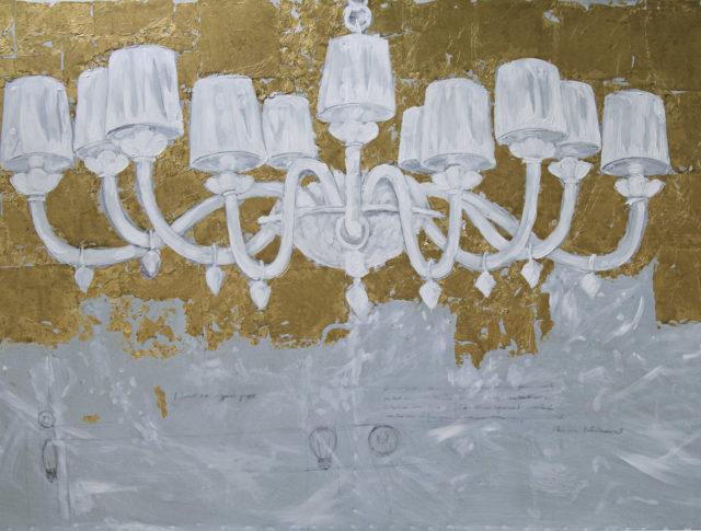 Lampadario oro, olio e foglia d'argento su lamiera, 100x160 cm. 2008