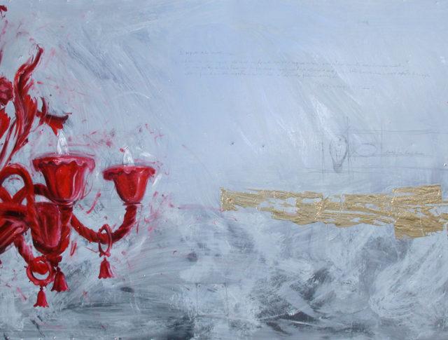 Lampadario rosso, olio e foglia d'oro su lamiera, 100x160 cm. 2005 - Collezione Privata Bologna