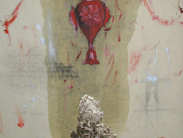 Lampadario rosso, olio, matita e foglia d'oro su carta da scenografia, 50x50 cm. 2009 - Collezione Privata