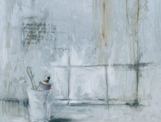 Buongiorno, olio su lamiera, 65x65 cm. 2004 - Collezione Privata