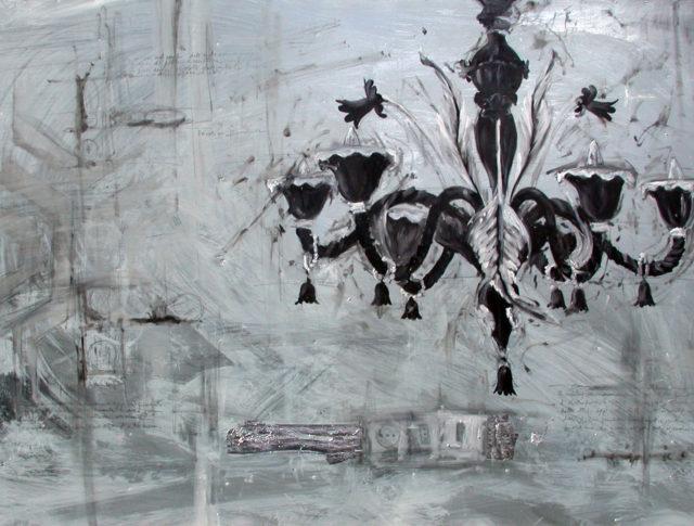 Lampadario nero, olio e foglia d'argento su lamiera, 100x160 cm. 2006 - Collezione Privata Ravenna