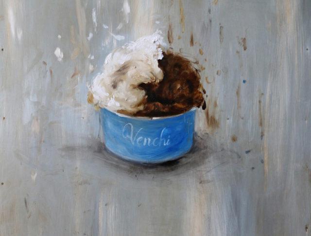 Il gelato italiano visto attraverso gli occhi di un artista, olio su lamiera, 60x80 cm. 2015 - Collezione Privata Seattle, WA USA