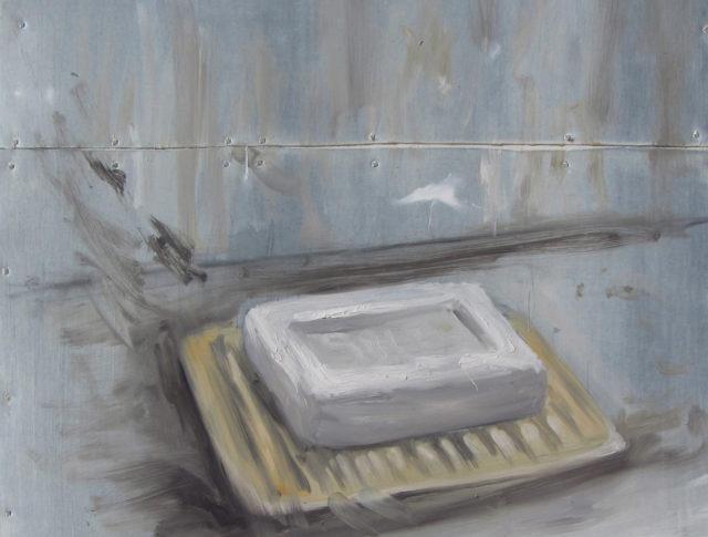 Risciacquo - 30x30 cm - 2014 - Olio su lamiera (Collezioni privata)