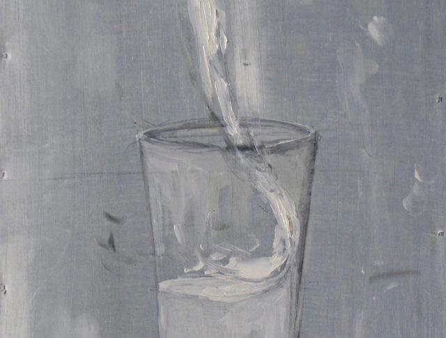 Dalla fonte - olio su Lamiera - 2014