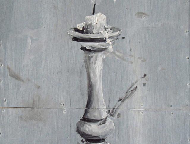 Buonanotte, olio su lamiera su legno, 2013